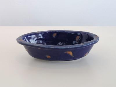 ルリ釉サビ抜楕円鉢(横)