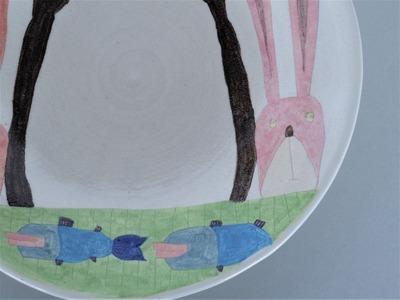 №2カレー皿(うさぎ)さかなアップ