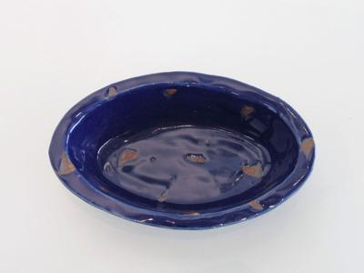 ルリ釉サビ抜楕円鉢