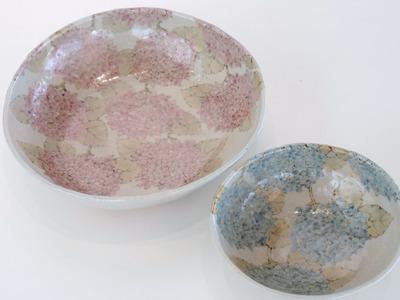 鉢 紫陽花(ピンク)、碗 紫陽花(ブルー)