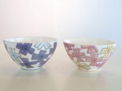 色絵銀彩花鉢