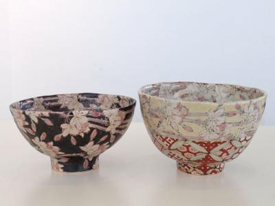 碗 黒枝桜、赤七宝枝桜