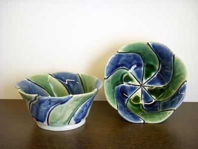三彩青緑小鉢