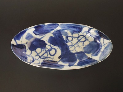 葡萄文楕円皿