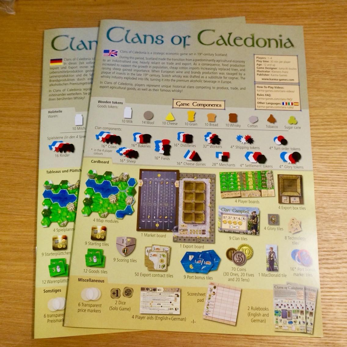 クランズ・オブ・カレドニア (Clans of Caledonia):説明書