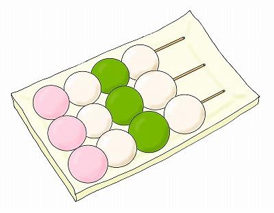団子(おだんご)のイラスト(花見だんご)/m