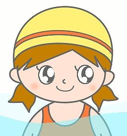 水泳帽子の女の子のイラスト・絵カード素材|プールのイラスト
