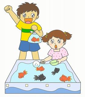 金魚すくいのイラスト・絵カード素材|お祭りのイラスト