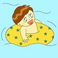 浮き輪のイラスト・絵カード素材 男の子|プールのイラスト 小