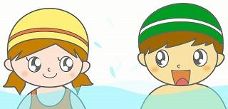 水泳帽子のイラスト・絵カード素材|プールのイラスト