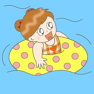 浮き輪のイラスト・絵カード素材(男の子)|プールのイラスト 320