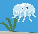 くらげのイラスト・絵カード素材 海の生き物のイラスト