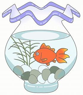 金魚と金魚鉢のイラスト・絵カード素材