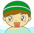 水泳帽子の男の子のイラスト・絵カード素材|プールのイラスト