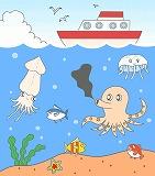 海の生き物のイラスト|魚・タコ・イカ・ひとで・くらげ・海草・海