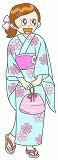 浴衣の女の子のイラスト・絵カード素材|お祭りのイラスト