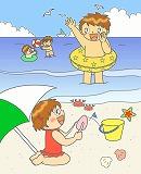 海水浴のイラスト・絵カード素材