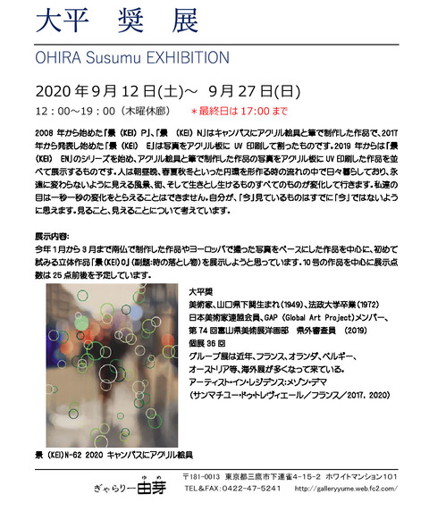 大平奨2020ぎゃらりー由芽(東京都三鷹市)