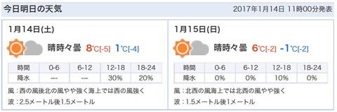 20170115横浜も氷点下に