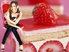 Mai Kuraki and a piece of Strawberry Cake