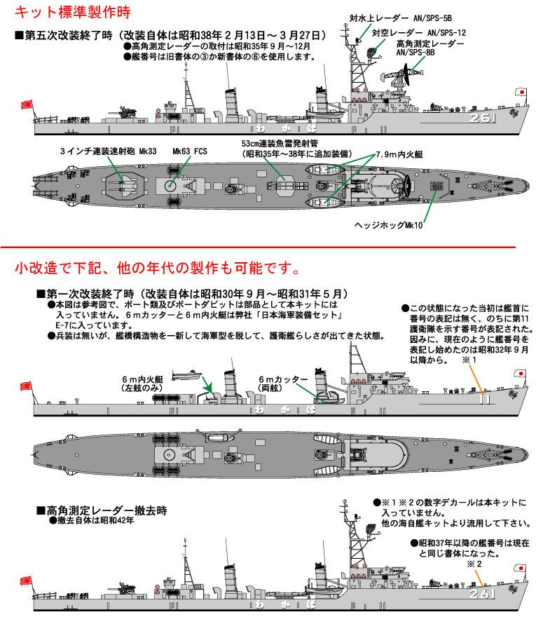 2番艦・DE-261(フリゲート) 護衛艦わかば : ペーパークラフト艦船 ...