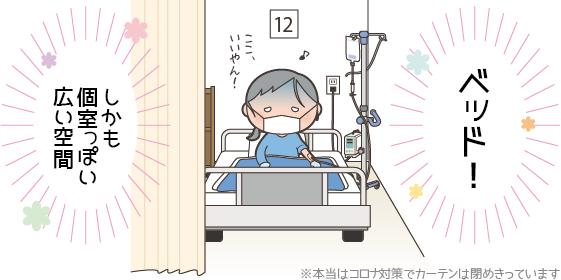 ベッドで点滴治療