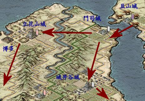 九州の進攻予定経路