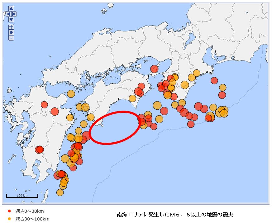南海エリアに発生したM5.5以上の地震