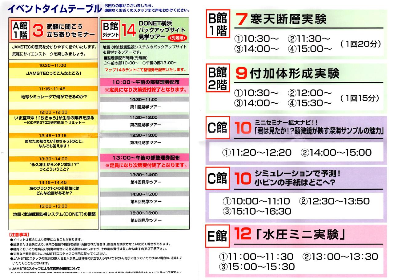 JAMSTEC横浜研究所タイムテーブル