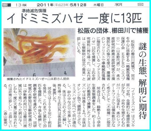 イドミミズハゼ 朝日新聞記事