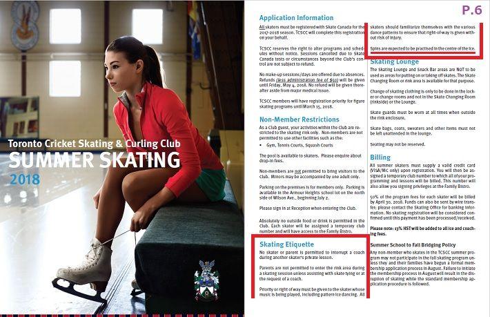 skating etiquette TCSCC