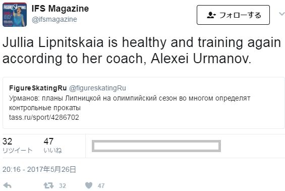 リプニツカヤちゃんは元気に練習を開始したらしい
