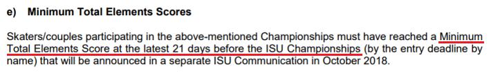 ISU選手権のミニマムは試合の21日前までに獲ればいいもの