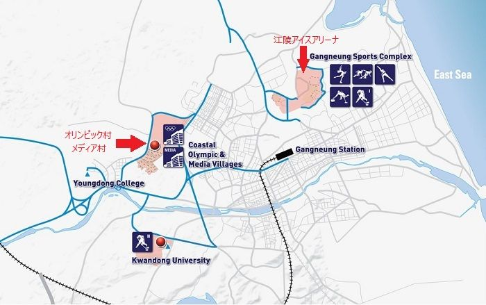 江陵アイスアリーナと選手村の距離 と 選手村 工事進捗状況