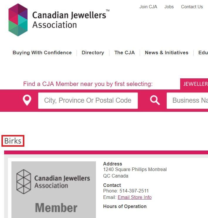 Birks HQ, Canadian Jewellers Association