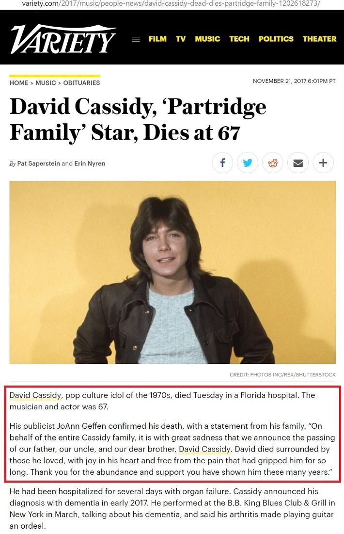 20171121 David Cassidy Passed Away - Variety2
