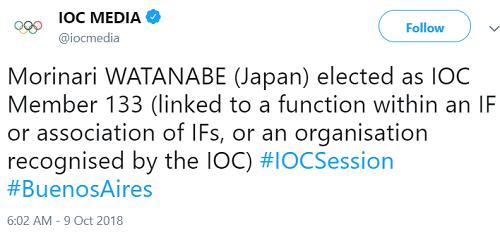 国際体操連盟会長の 渡辺守成氏 IOCメンバーに選出される