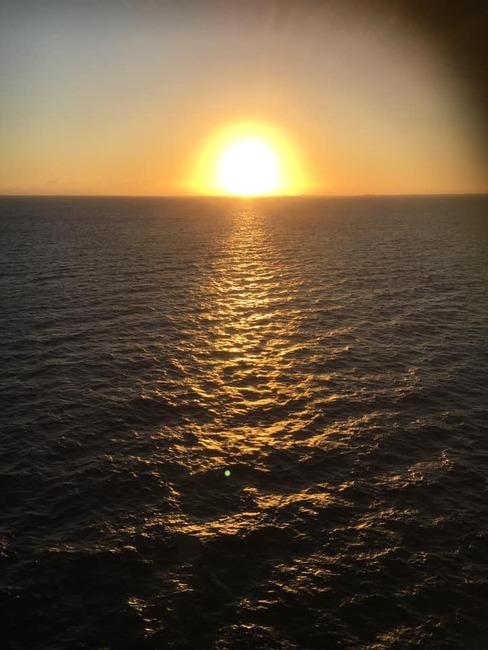 カリブ海で見た夕陽