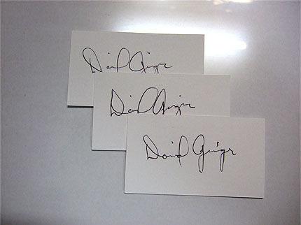デビッド・ガイガー氏のサイン