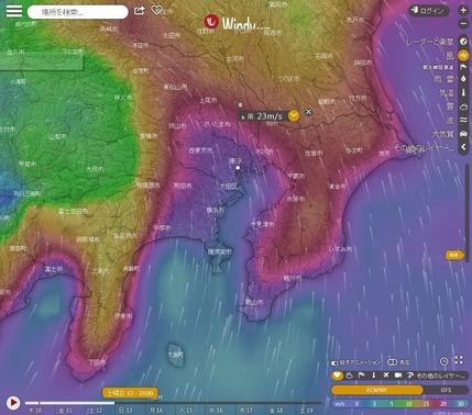 台風19号_12日23時風速予想_東京