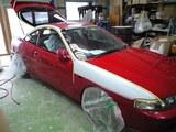 グレー部分が塗装劣化をサンディング修正後サフェーサー塗装した箇所