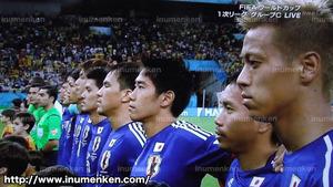 tv_09(サッカーW杯「日本VSコートジボワール」日本代表_国歌斉唱