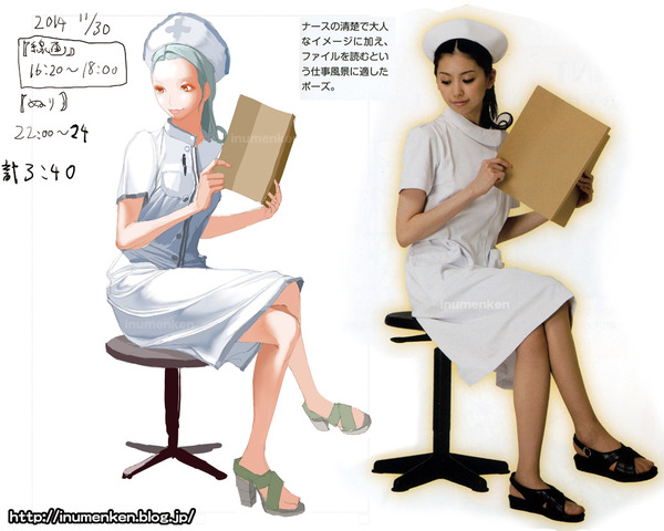 cg_r_25(絵の技法書「服のシワの描き方_マスターブック」ナース