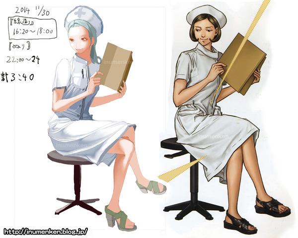 cg_r_26(絵の技法書「服のシワの描き方_マスターブック」ナース
