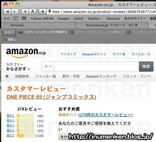 m_89(Amazonのレビューが低評価の漫画「ワンピース65巻