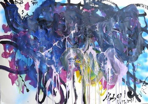 「猫と青の関係」水彩紙77.2×108.9cm20190116