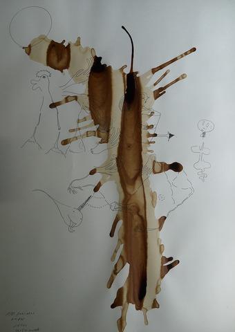 「トリップ後嘔吐」(№2)水彩紙、インク、コーヒー20210807