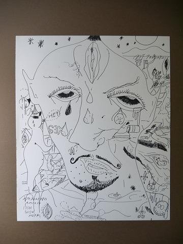 「鬼の肖像」水彩紙、インク45.5×38㎝20210831