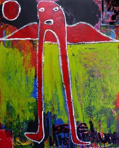 「赤い絵」カンバス、麻布の上に綿布上張りF10020200906