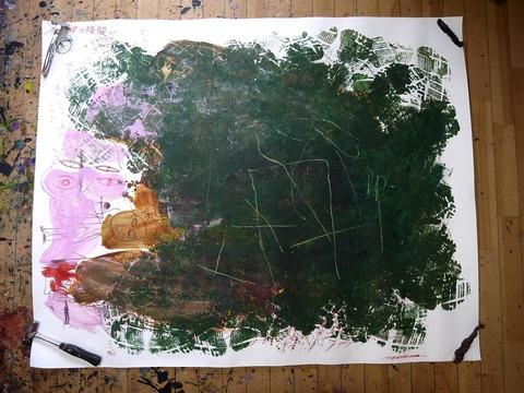 (母の横顔、スニーカーでスタンプ)中性紙115×145cm 20150718